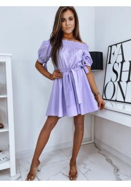 Fialové módní šaty s páskem pro dámy