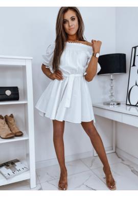 Dámské módní šaty s páskem v bílé barvě