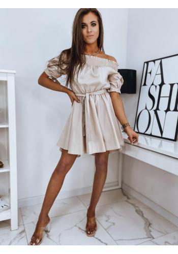 Módní dámské šaty béžové barvy s páskem