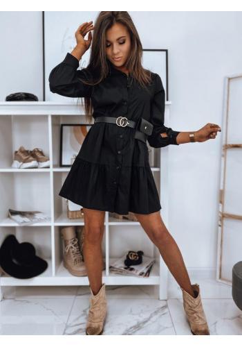 Černé košilové šaty s volány pro dámy