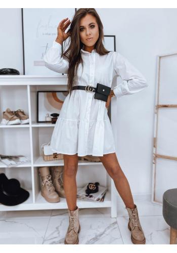 Košilové dámské šaty bílé barvy s volány