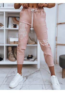 Teplákové dámské kalhoty růžové barvy s aplikací