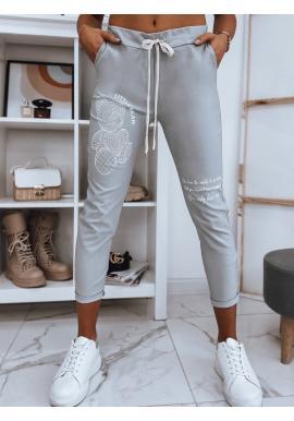 Dámské teplákové kalhoty s aplikací v světle šedé barvě