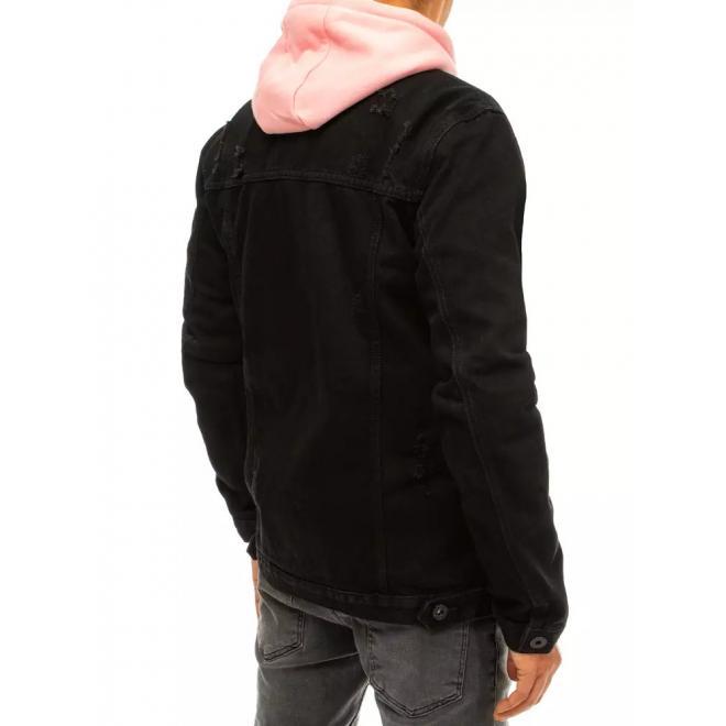 Riflová pánská bunda černé barvy s dírami