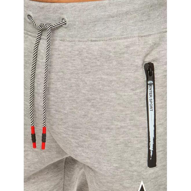 Pánské módní tepláky s kontrastními vložkami v světle šedé barvě
