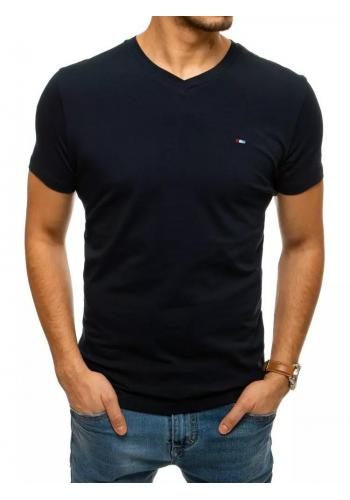 Pánské bavlněné tričko s véčkovým výstřihem v tmavě modré barvě