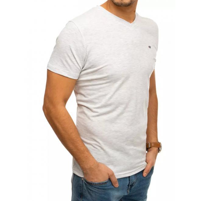 Bavlněné pánské tričko světle šedé barvy s véčkovým výstřihem