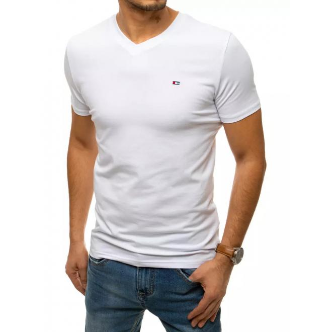 Bílé bavlněné tričko s véčkovým výstřihem pro pány