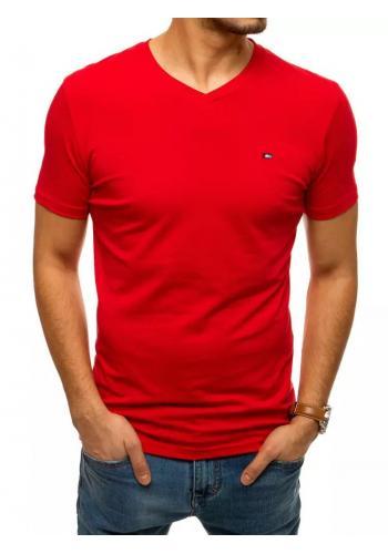 Bavlněné pánské tričko červené barvy s véčkovým výstřihem