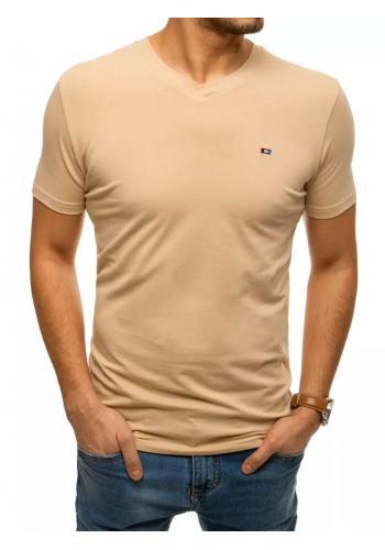 Béžové bavlněné tričko s véčkovým výstřihem pro pány