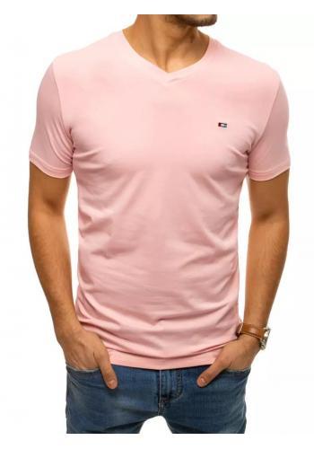 Pánské bavlněné tričko s véčkovým výstřihem v růžové barvě
