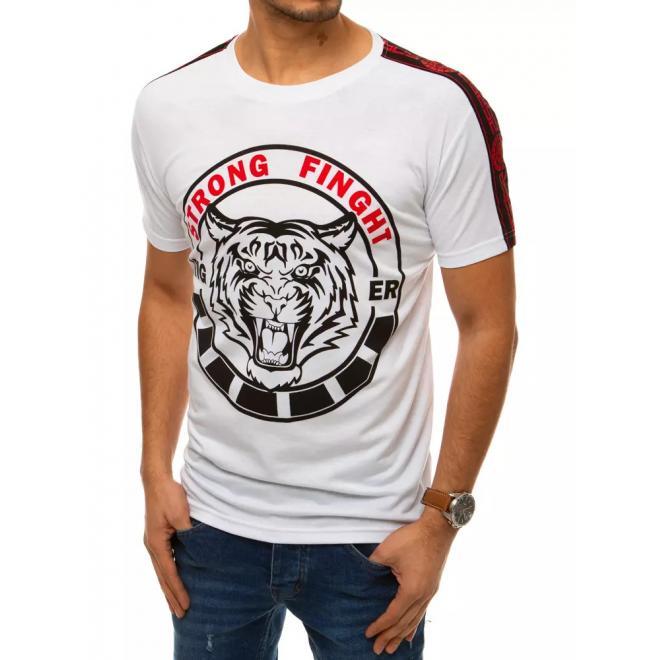 Módní pánská trička bílé barvy s potiskem
