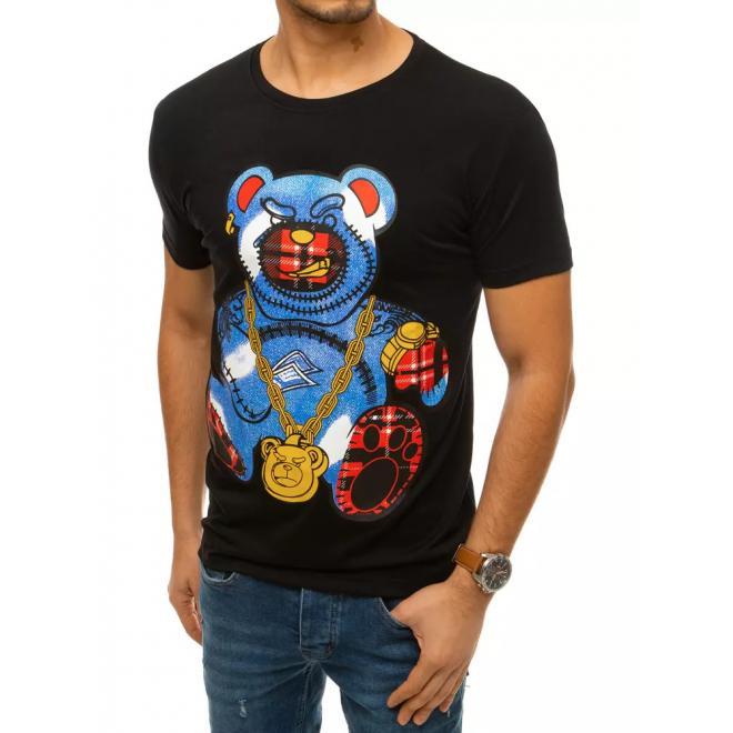 Pánské klasické tričko s barevným potiskem v černé barvě