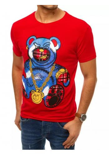 Červené klasické tričko s barevným potiskem pro pány