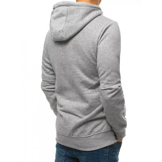 Stylová pánská mikina světle šedé barvy s potiskem
