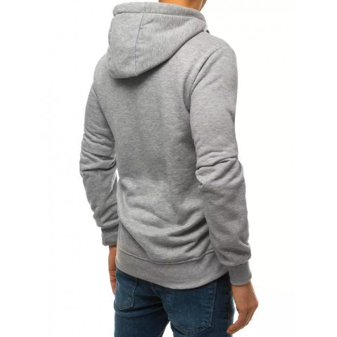 Pánská módní mikina s potiskem v světle šedé barvě