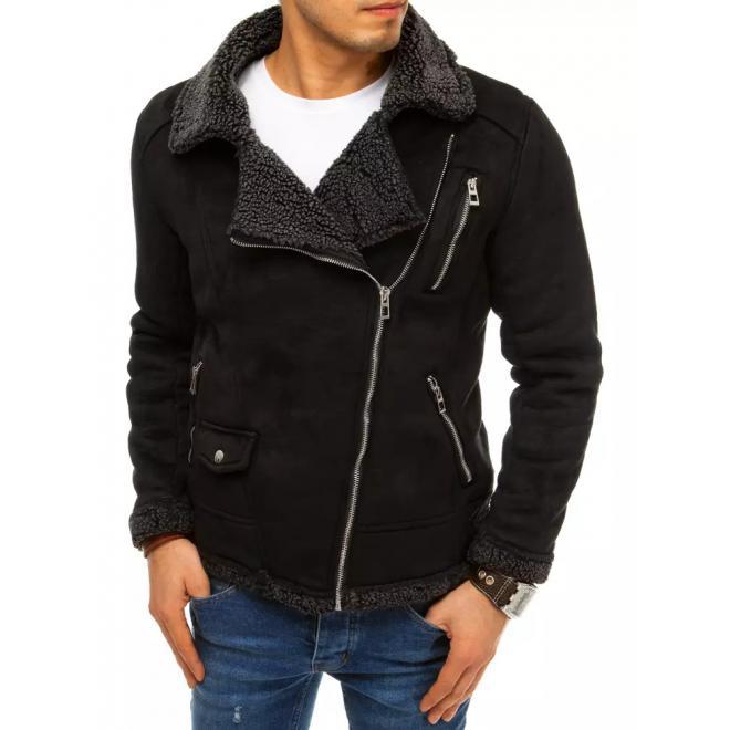Semišová pánská bunda černé barvy na zimu