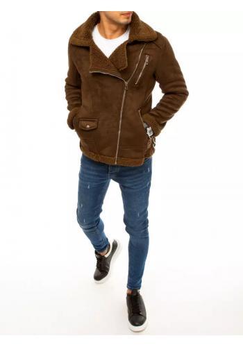 Pánská semišová bunda na zimu v hnědé barvě
