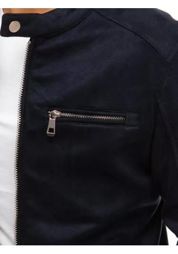 Pánská semišová bunda na přechodné období v tmavě modré barvě