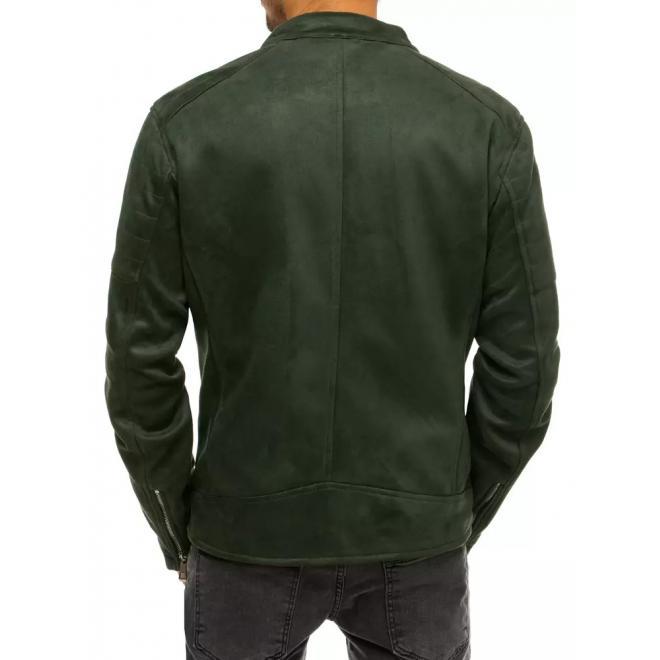 Zelená semišová bunda na přechodné období pro pány