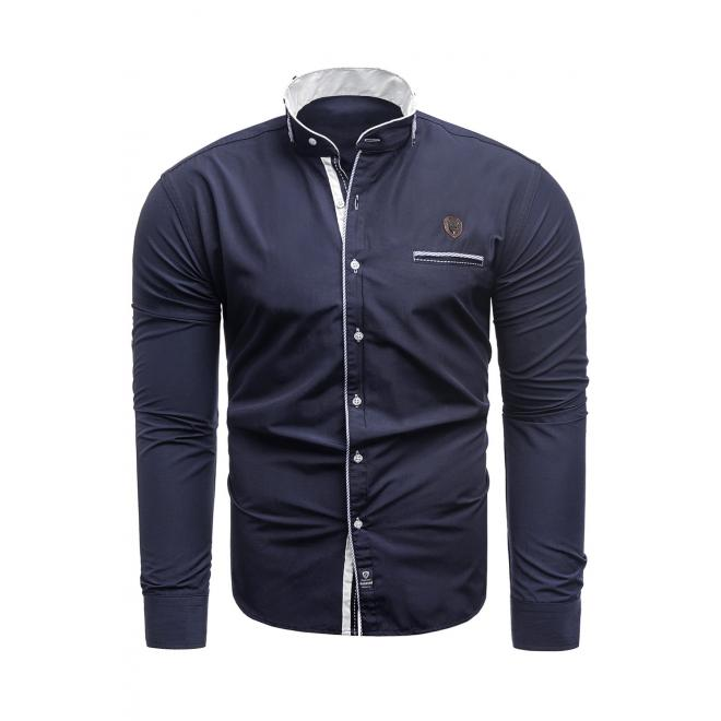 Pánská klasická košile s dlouhým rukávem v tmavě modré barvě