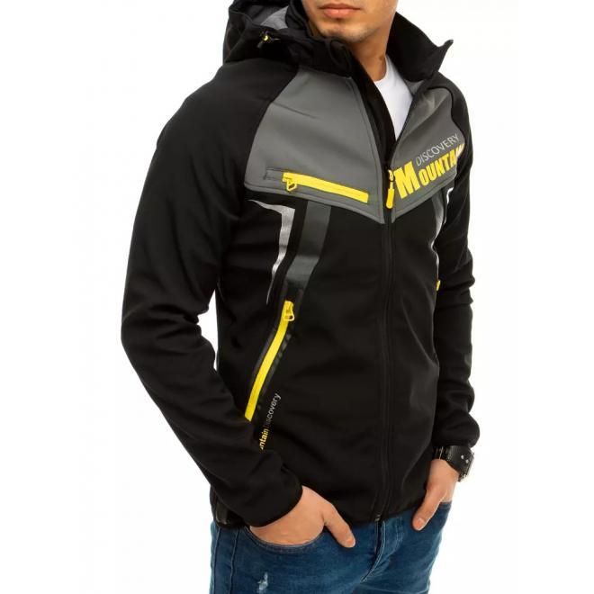 Pánská softshellová bunda s potiskem v černé barvě