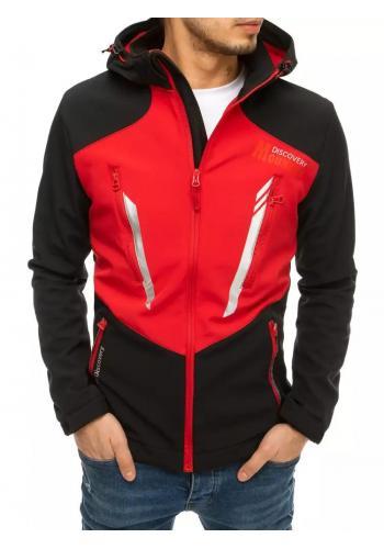Pánská softshellová bunda s kapucí v černo-červené barvě