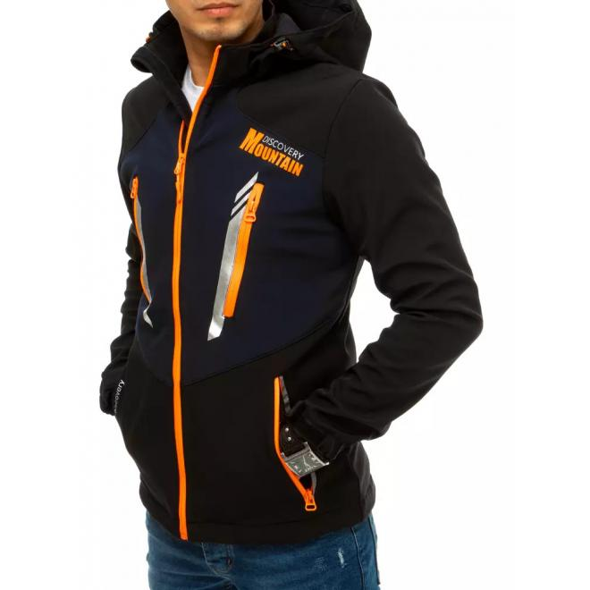 Softshellová pánská bunda černé barvy s kapucí