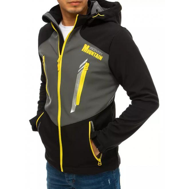 Černo-šedá softshellová bunda s kapucí pro pány