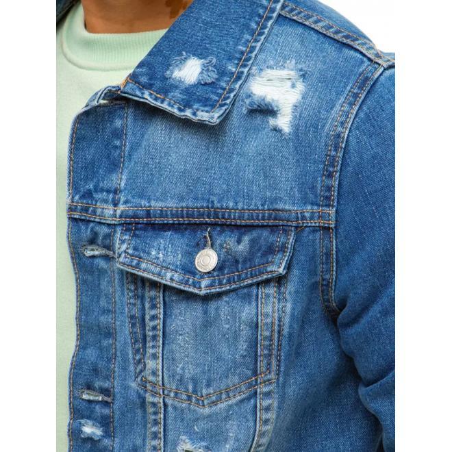 Světle modrá riflová bunda s dírami pro pány