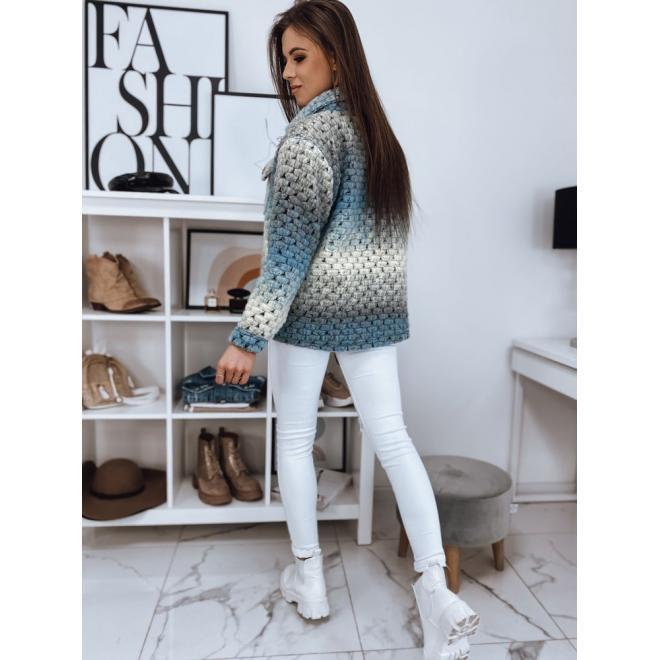 Oversize dámská bunda šedo-modré barvy na knoflíky
