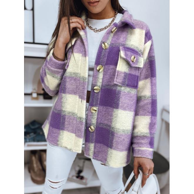 Hrubá dámská košile fialové barvy s kostkovaným vzorem