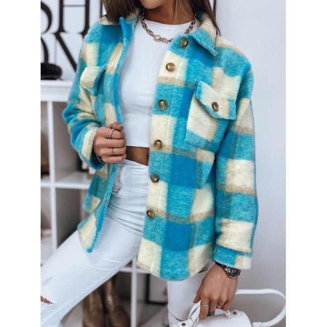 Dámská hrubá košile s kostkovaným vzorem v tyrkysové barvě