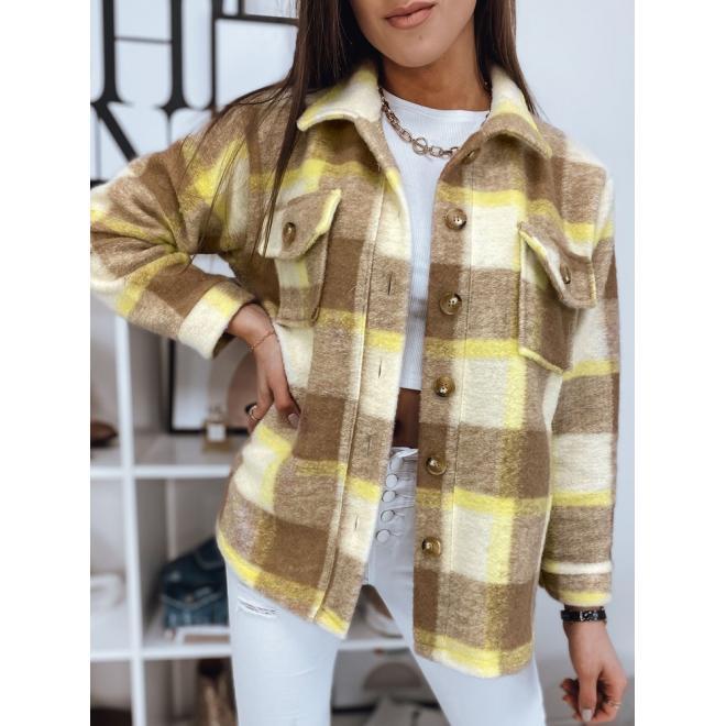 Béžová hrubá košile s kostkovaným vzorem pro dámy