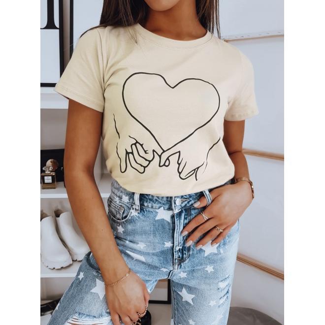 Bavlněné dámské tričko béžové barvy s potiskem