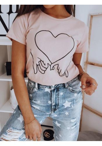 Růžové bavlněné triko s potiskem pro dámy