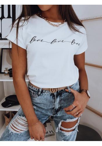 Dámské módní trička s nápisem v bílé barvě