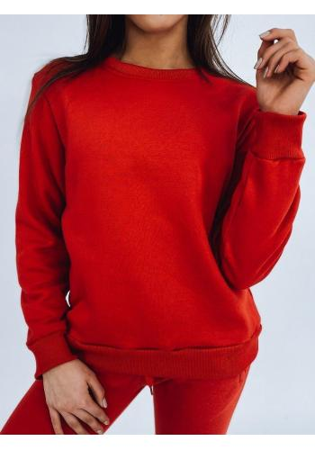 Červená klasická mikina bez kapuce pro dámy