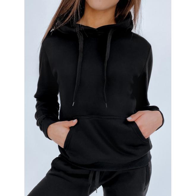 Sportovní dámská mikina černé barvy s kapucí