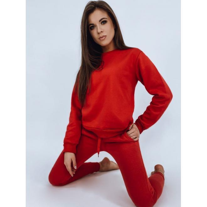 Tepláková dámská souprava červené barvy bez kapuce