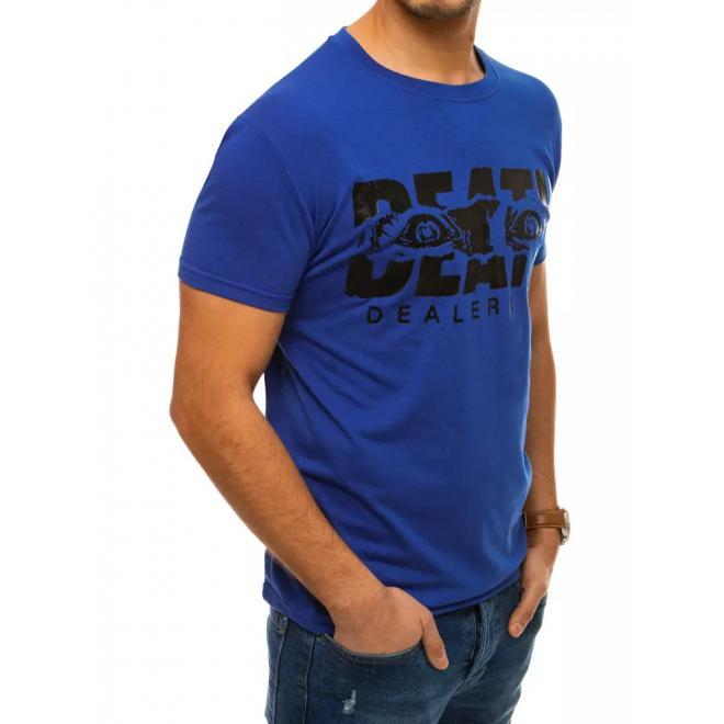 Módní pánské tričko modré barvy s krátkým rukávem