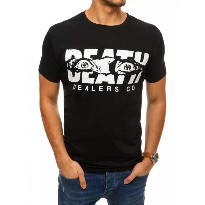 Černé módní tričko s krátkým rukávem pro pány