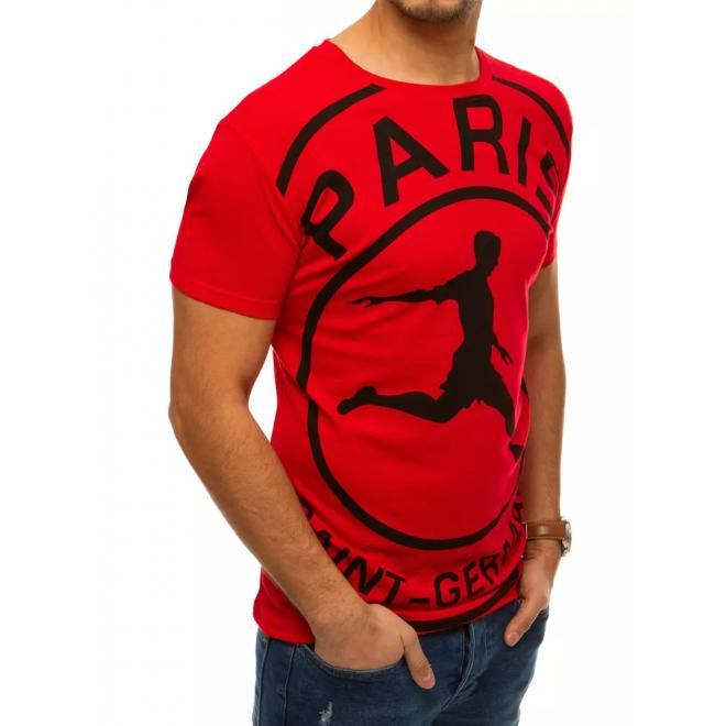Červené stylové tričko s potiskem pro pány
