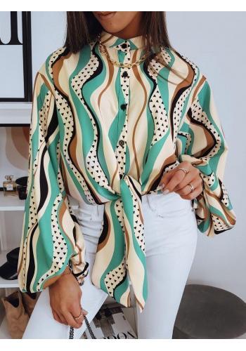 Béžová elegantní halenka s vázáním a vzorem pro dámy