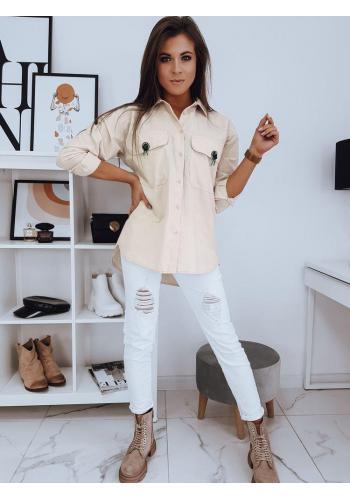 Oversize dámská košile béžové barvy s kapsami na hrudi