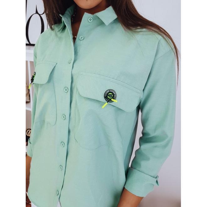 Dámská oversize košile s kapsami na hrudi v mátové barvě
