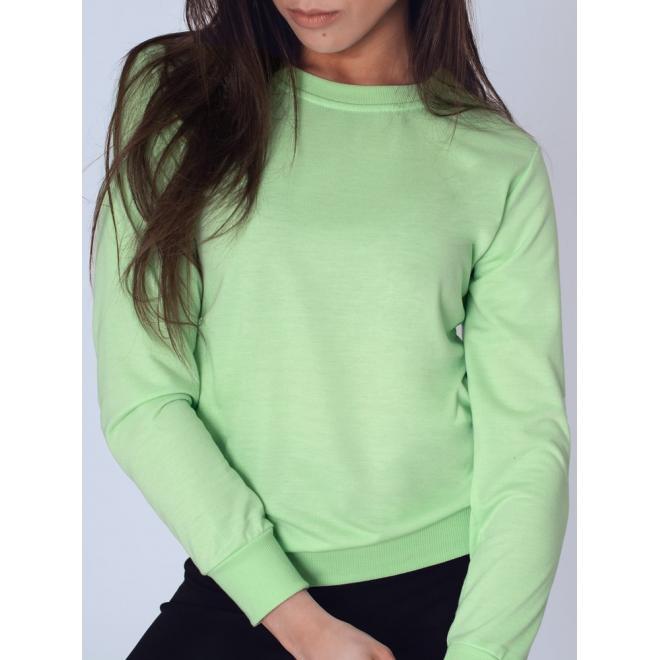 Zelená klasická mikina bez kapuce pro dámy