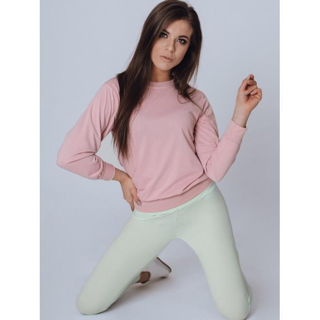 Růžová klasická mikina bez kapuce pro dámy