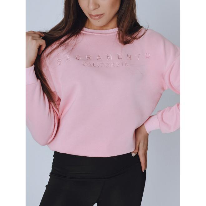 Stylová dámská mikina růžové barvy s nápisem
