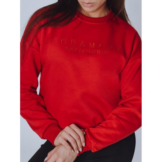 Dámská stylová mikina s nápisem v červené barvě